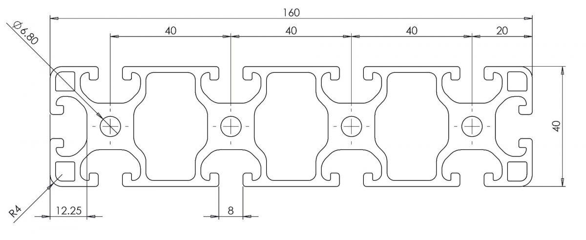 profil konstrukcyjny 40x160 wymiary
